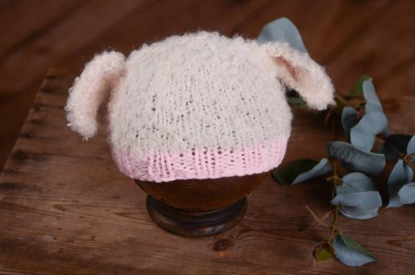 Gorro orejitas ovejita beige y rosa c97023f1645